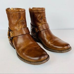 Frye Phillip Harness Ankle Boots 6 B O Ring Brown